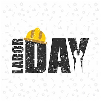 Happy labor day grunge background with a helmet