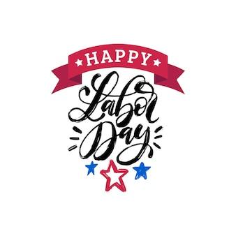 С днем труда, рука надписи на фоне звезд. векторная иллюстрация праздника сша для приветствия или приглашения, праздничный плакат или баннер.