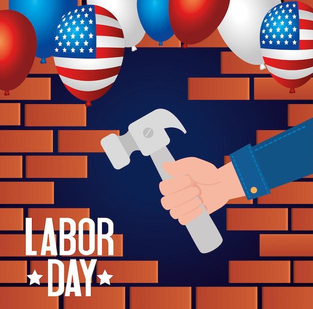 Счастливое знамя и рука праздника дня трудаа с дизайном иллюстрации инструмента молотка