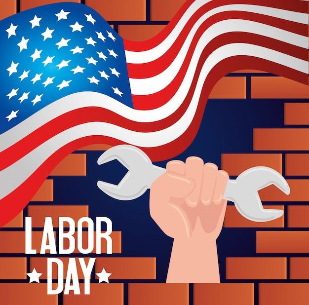 Счастливое знамя и рука праздника дня трудаа с дизайном иллюстрации инструмента ключа