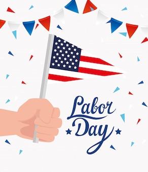 Счастливое знамя праздника дня трудаа с дизайном иллюстрации руки и флага сша