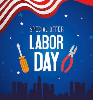 Happy labor day holiday banner with pliers and screwdriver tools illustration design