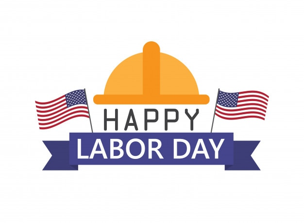 Happy labor day holiday banner with usa flag