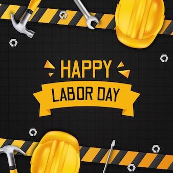 С днем труда. международный день работника. с желтой линией конструкции с трехмерным реалистичным молотком, защитным шлемом, отверткой и гаечным ключом с черной стенкой.