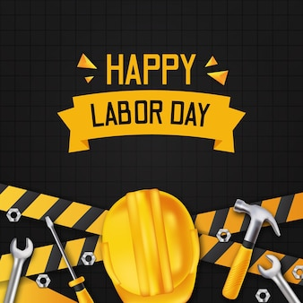 Happy labor day. international worker day with yellow line construction with 3d realistic hammer, safety helmet, screwdriver and wrench with black wall.