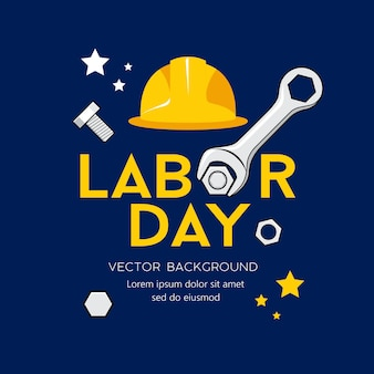 Happy labor day message vector wrench design on navy blue background  illustration
