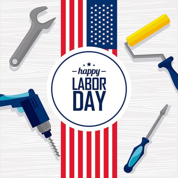 Happy labor day postcard