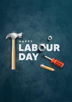 해피 노동절 포스터 디자인 일러스트 레이션