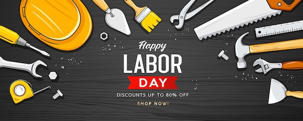 Happy labor day sale construction tools design on black wood background eps 10 vector