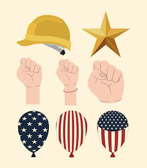 Happy labor day set icons vector illustration design