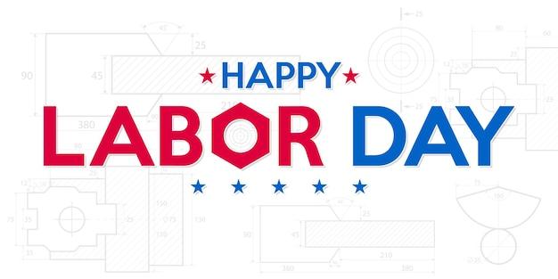 건설 도면 청사진 배경으로 행복한 노동절 미국 노동절 배너