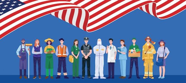 幸せな労働日。アメリカの国旗で立っているさまざまな職業の人々。