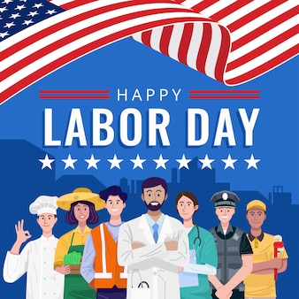 Happy labor day. various occupations people standing with american flag.