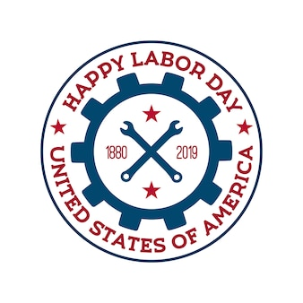 Happy labor day vector badge.
