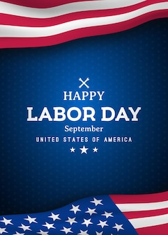 Happy labor day vertical greating banner with united states national flag