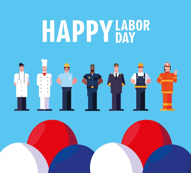 Happy labor day with men professionals