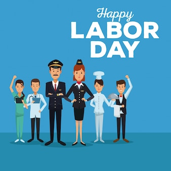 Happy labor day with people of different professions