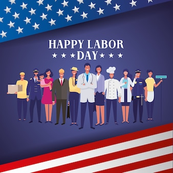 Happy labor day with people professionals over united states background illustration