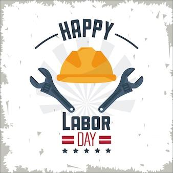 保護ヘルメットとスパナツールで幸せな労働日
