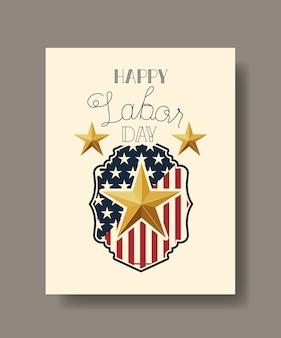 Счастливый рабочий день со звездным и американским флагом