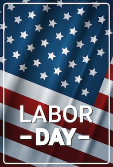 Happy labor day with usa flag holiday greeting card