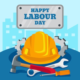 Happy labor day with with hat and tools