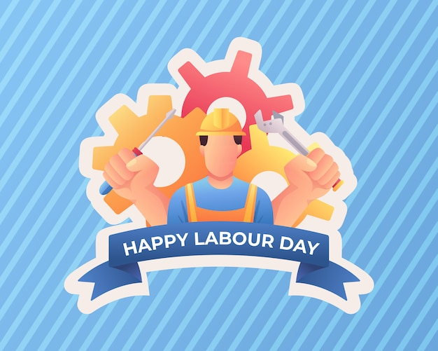 Happy labor day with worker
