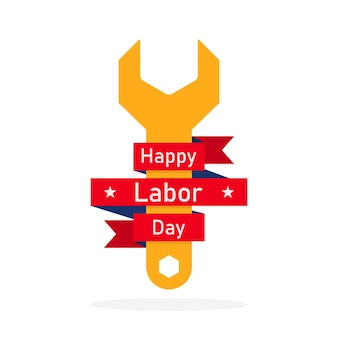 Happy labor day, with a wrench and red ribbon.