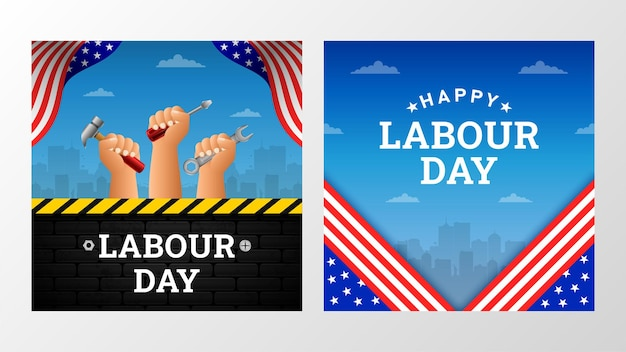 Happy labour day background with amercan flag yellow stripe and tools