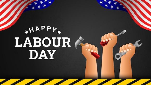 Счастливый день труда фон с американским флагом желтой полосой и инструментами