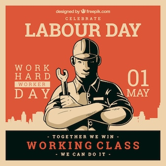 Happy labour day background with worker in flat style