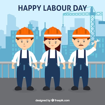 Happy labour day background with workers in flat style