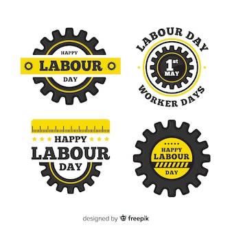 Happy labour day badge collection