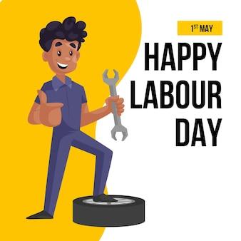 幸せな労働者の日のバナーデザインテンプレート