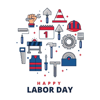 Happy labour day card with set of cartoons construction tools