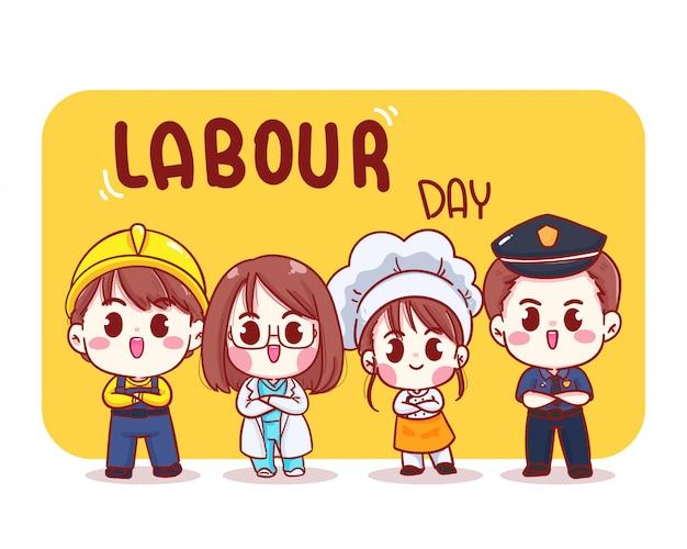 행복 한 노동절 만화 예술 그림