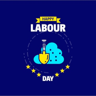 모래 로고와 함께 파란색과 노란색 테마 벡터와 함께 행복 한 노동절 디자인