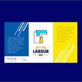 青と黄色のテーマベクトルと幸せ労働日のデザイン