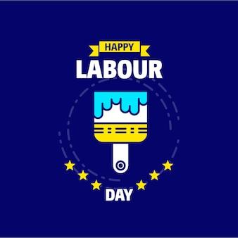 青と黄色のテーマの幸せな労働日のデザイン