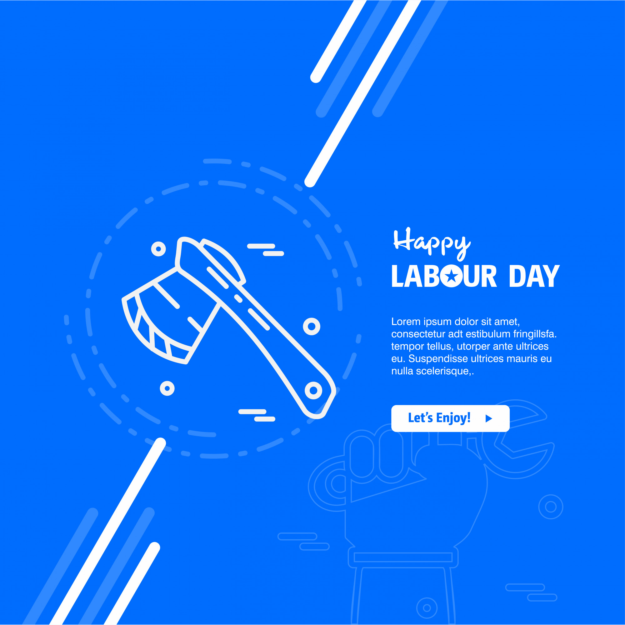 Happy Labour day design with blue theme vector