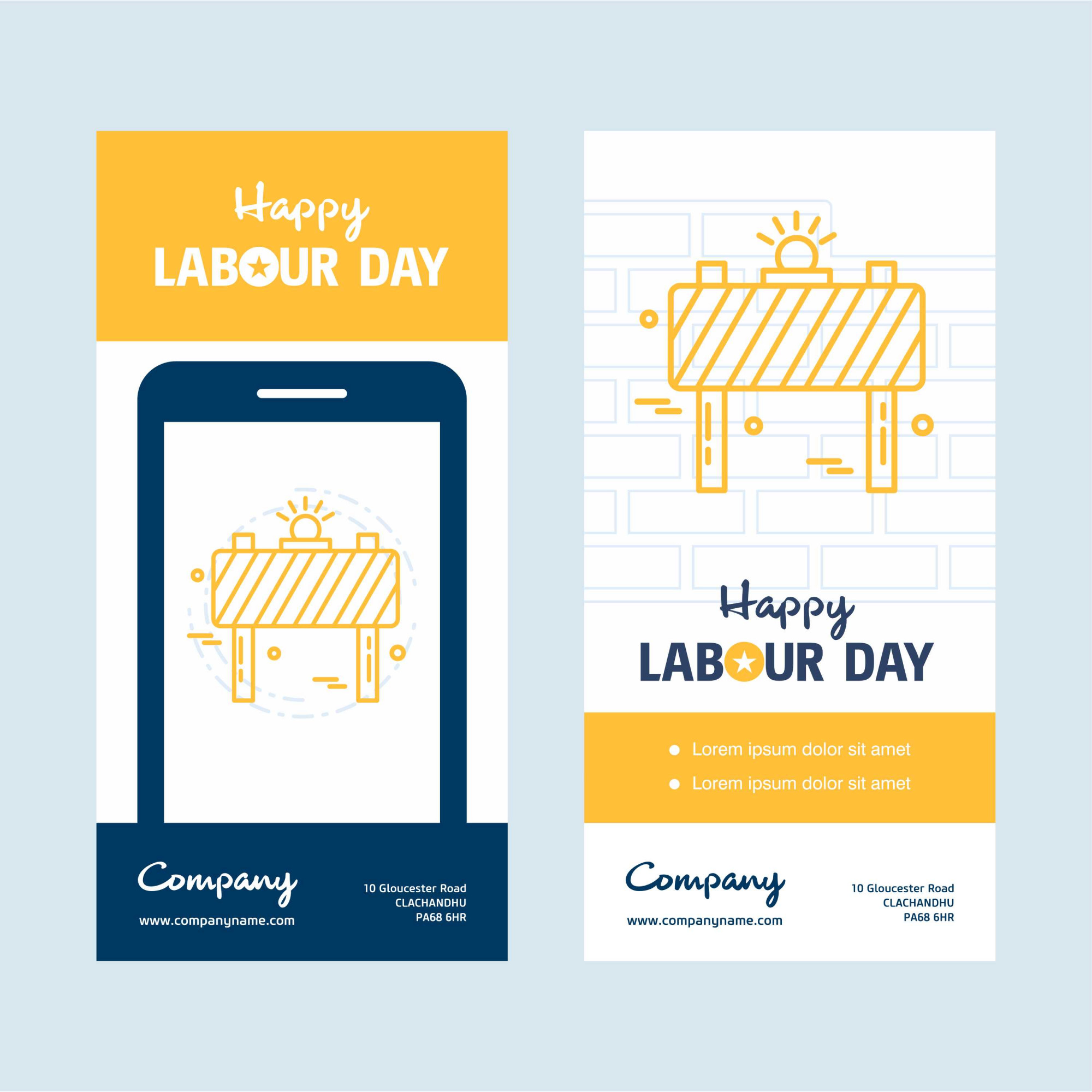 Happy Labour day design with yellow theme vector
