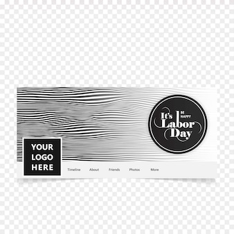 Happy Labour day facebook cover with grey background vector