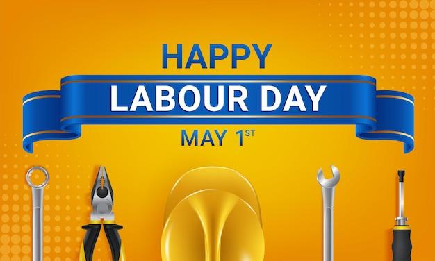 幸せな労働者の日のグリーティングカードテンプレート。国際労働者の日のお祝い