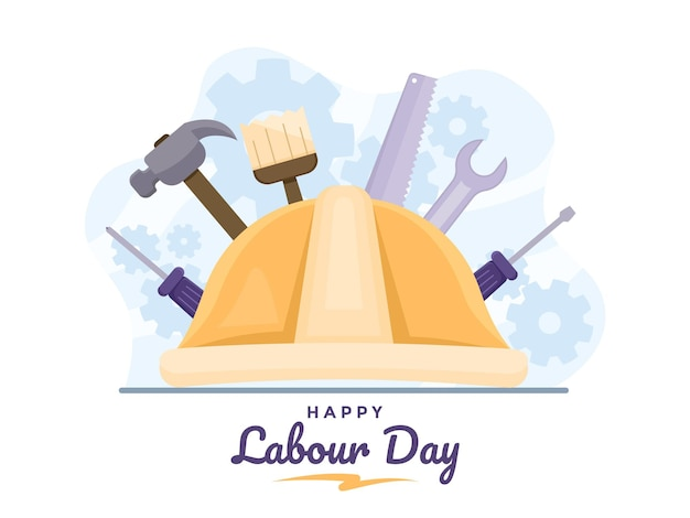 Happy labour day illustration with labour helmet and tool