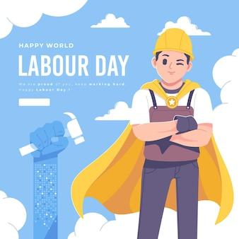幸せな労働者の日のイラスト