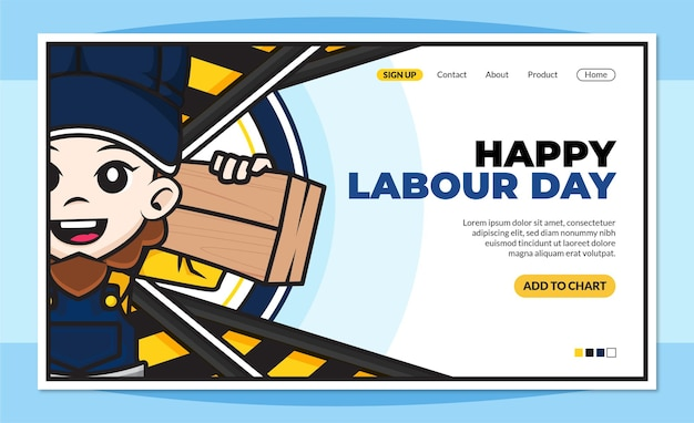 Happy labour day landing page template with cute cartoon character of workers