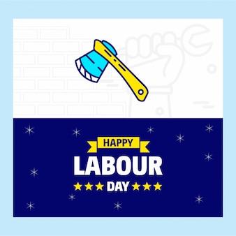 幸せな労働日のロゴとバナー