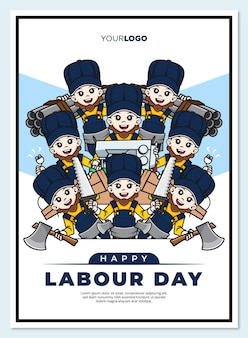 Happy labour day poster template with cute cartoon character of workers mascot