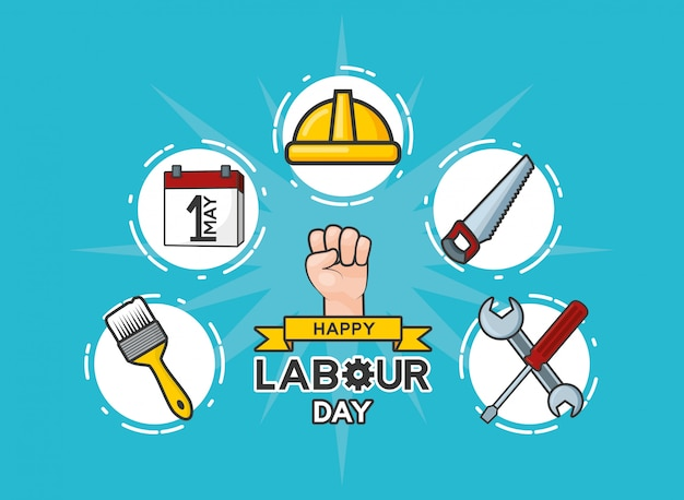 Happy labour day set of the labour day labour objects illustration