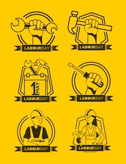労働アイコンイラストの幸せな労働者の日セット